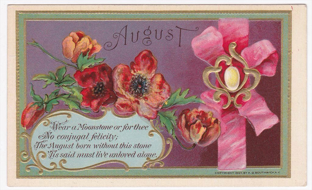 August Moonstone Poppy Happy Birthday Greetings Antique Vintage