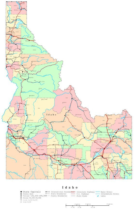 Printable Map Of Idaho State Id Color Map Idaho State