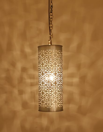 Large moroccan silver cylinder hanging light lighting pendant large moroccan silver cylinder hanging light aloadofball Gallery