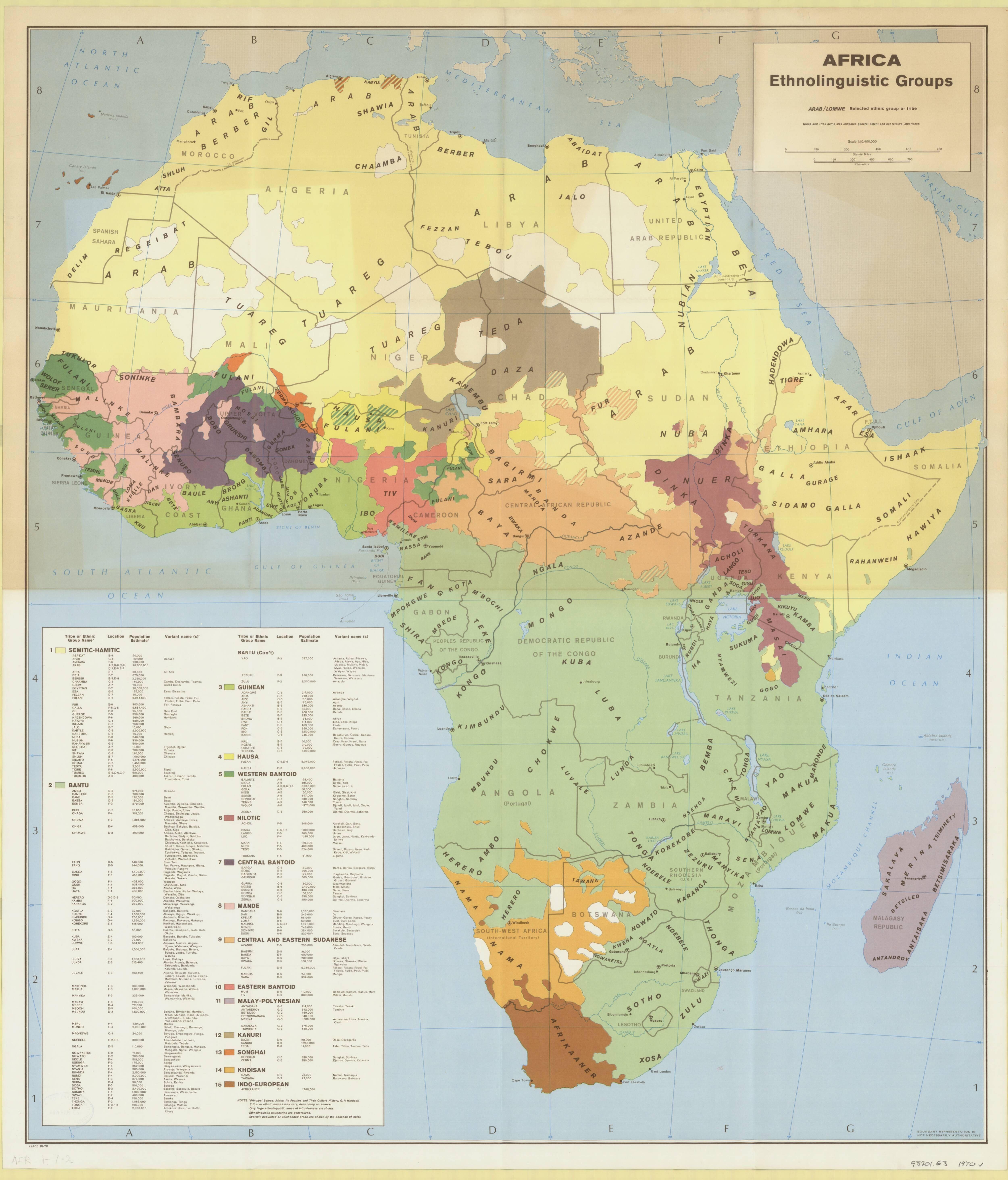 Ethnolinguistic groups of Africa, 1970 | Africa L | Africa map