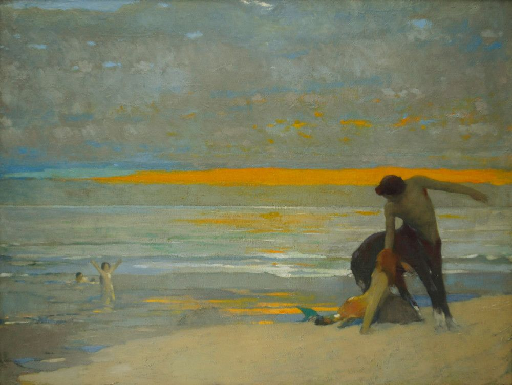 Centaur And Mermaid On The Beach At Sunset by Arthur Frank Mathews