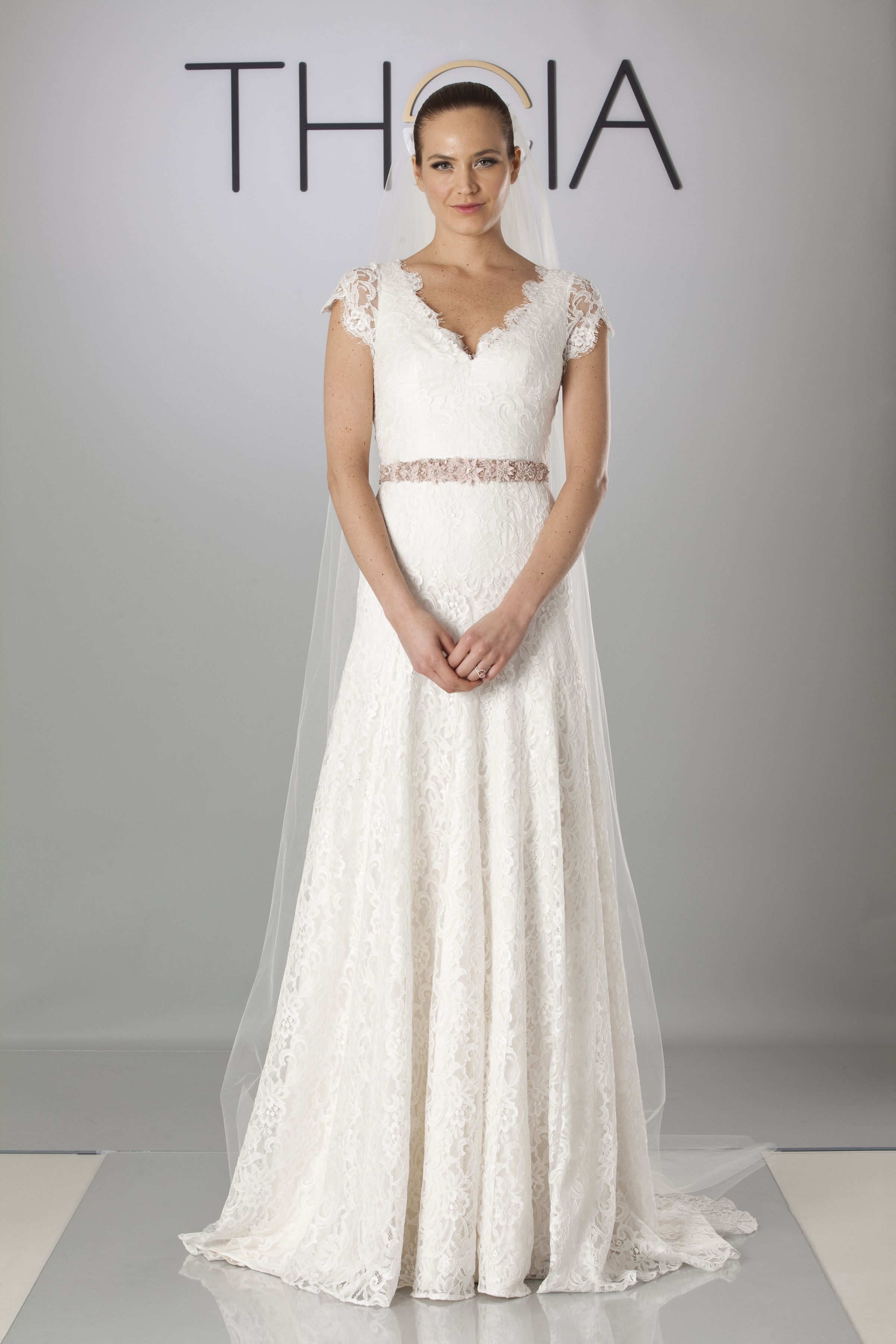 Theia White Collection 890058 | Cap sleeve - neck lace gown ...