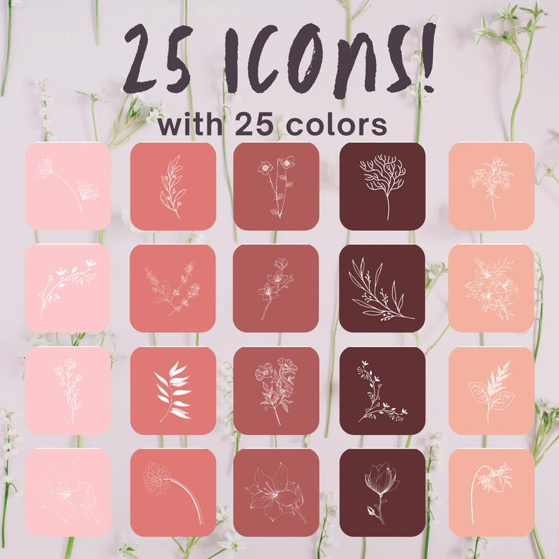 600 Ios 14 App Icons Fall Flower Aesthetic Theme Iphone Icons Etsy In 2021 App Icon Flower Aesthetic Iphone Icon