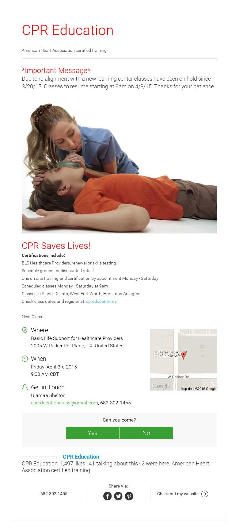 CPR Education American Heart Association certified