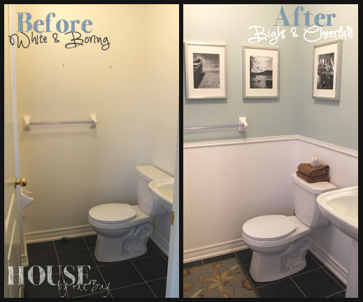 Small Bathroom Makeover Add Trim And Paint Top And Bottom Different Colors Makes The Room Look So Mu Small Bathroom Makeover Bath Makeover Bathroom Makeover