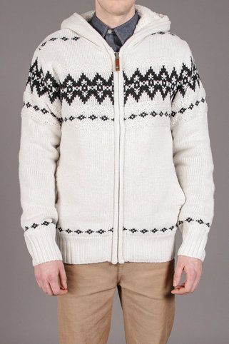 Projek Raw Zip Up Sherpa Knit Hooded Sweater w/ Fairisle Details ...