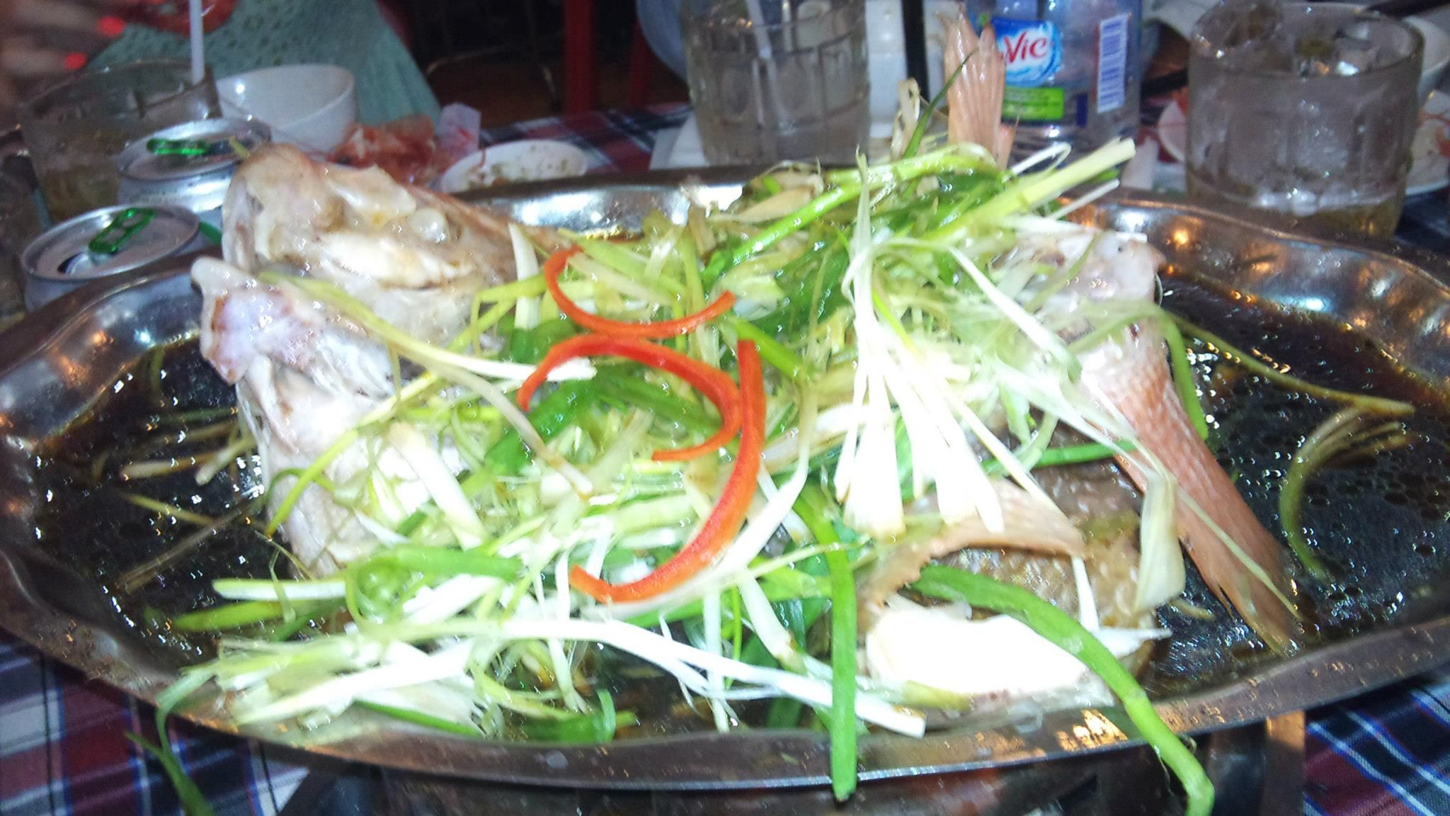 Steamed fish with onion