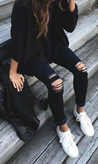Black ensemble white shoes | Fashion