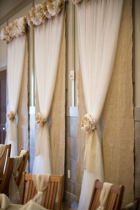 Burlap Tulle Wedding Back Drop Something Along This Line But With White Light