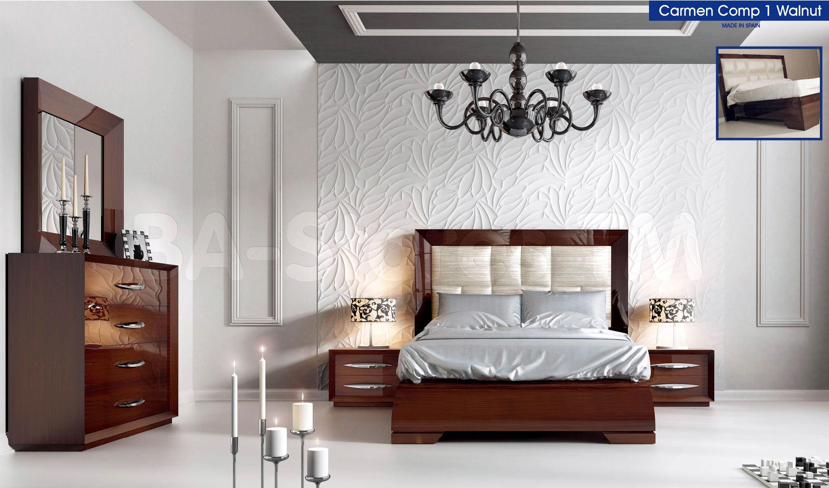 Carmen Modern Bedroom Set Walnut Italian bedroom