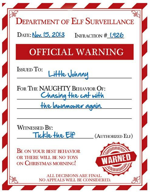 photograph regarding Elf Printable Coupons called Totally free Elf Caution for Naughty Young children Printables Naughty