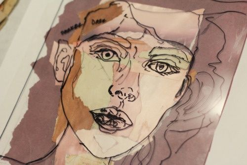 Contour Line Drawing Face : Line drawing of choice subject on acetate layered over water color