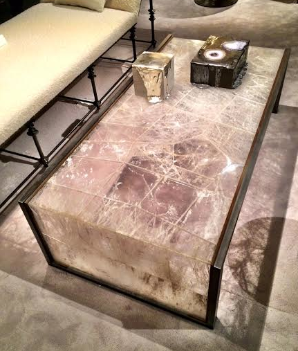 Love the shadows created by this Quartz Waterfall table in rock crystal, steel and brass, Chahan Gallery, PAD Paris 2016