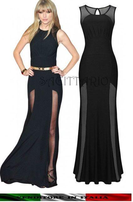 Abito da sera lungo Maxi vestito velato cerimonia elegante SEXY nero  capodanno 36ac460bd95