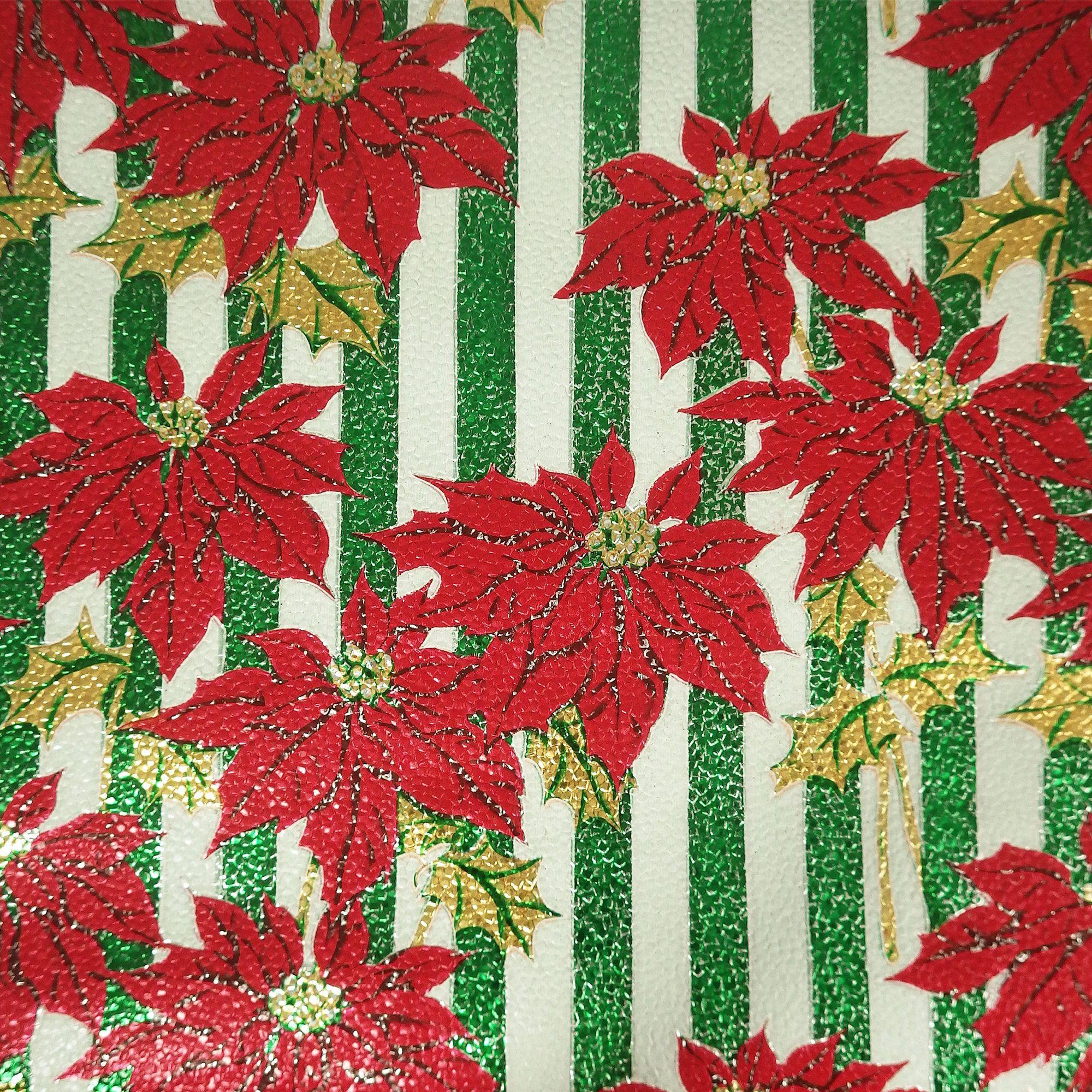 Poinsettia Flower Vintage Christmas Wrapping Paper Roll Foil Etsy Vintage Christmas Wrapping Paper Christmas Wrapping Paper Vintage Wrapping Paper