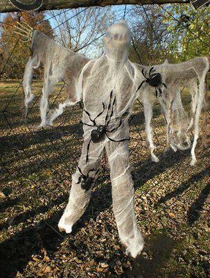 12 FOOT SPIDER WEB with VICTIM and SPIDERS HALLOWEEN DISPLAY PROP - spider web halloween decoration