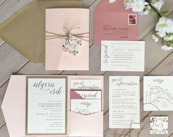 Blush Gold And Ivory Wedding Invitations By Inspirationidodesign Hochzeitseinladung Karte Hochzeit Moderne Hochzeitseinladungen
