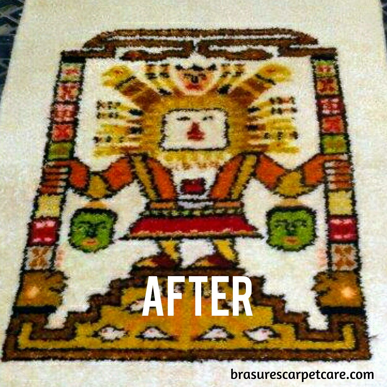 And this is after we have cleaned and removed the color damage. We handle all kinds of Oriental and specialty rugs here at our plant in Sussex County, Delaware.   #brasurescarpetcare #orientalrugcleaning