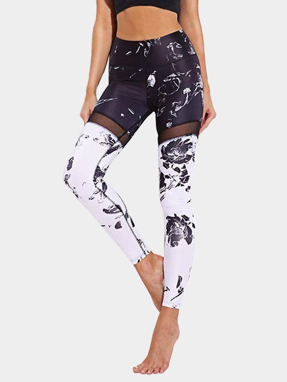 ee05482a0f805 Active Net Yarn Random Floral Print Sports Leggings in Black - US ...