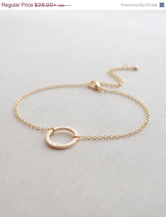 SUPER SALE Simple Circle Bracelet - gold circle bracelet - Olive Yew gold bracelet - 2148