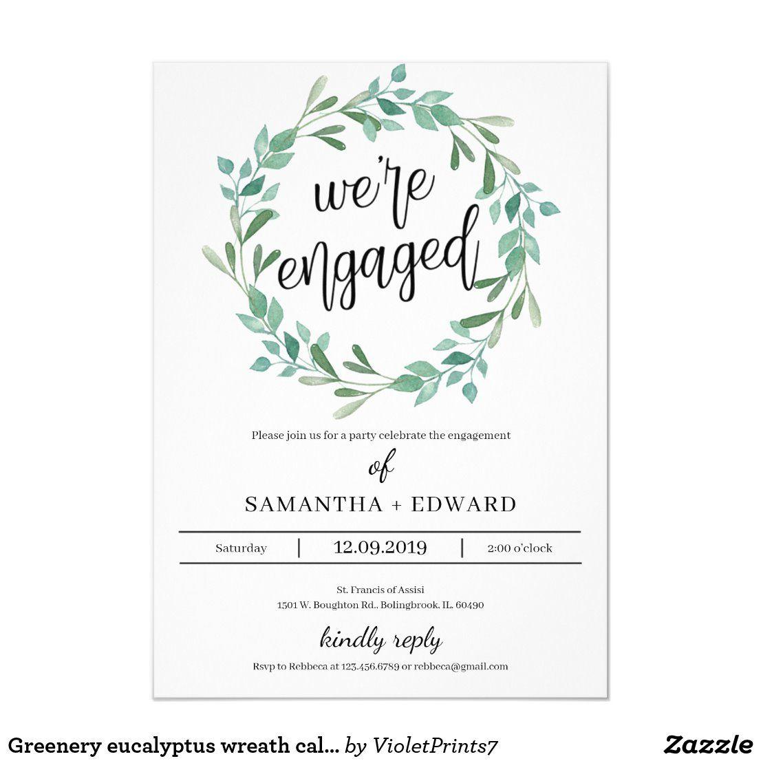 Photo of Green Eucalyptus Wreath Callygraphy Engagement Invitation | Zazzle.com