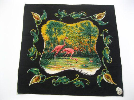 Vintage Florida Everglades handkerchief hankie by 3floridagirls, $40.00
