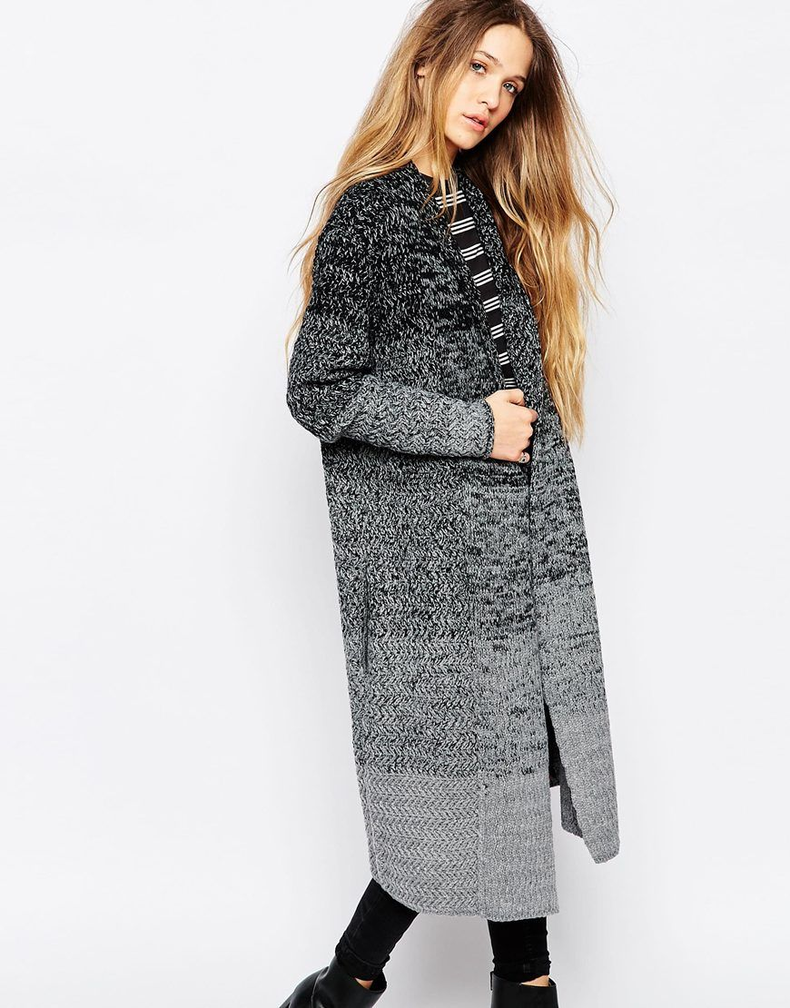 Image 1 of La Fee Verte Grey and Black Striped Longline Cardigan ...