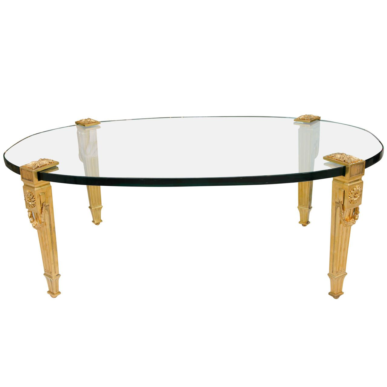 Oval Glass Top Cocktail Table With Gilt Bronze Legs By P E Guerin 1stdibs Com Glass Top Cocktail Tables Table [ 1280 x 1280 Pixel ]