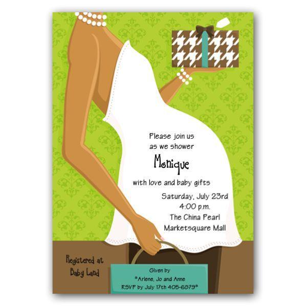 Safari Theme Baby Shower Invitations African American   Belly African  American Green Baby Shower Invitations  