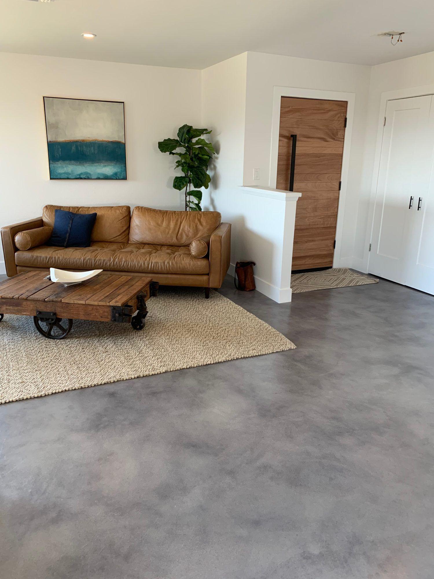 15 Ideal Basement Floor Paint Ideas And Flooring Options Chd Ideas In 2020 Concrete Floors Living Room Concrete Stained Floors Floor Paint Colors