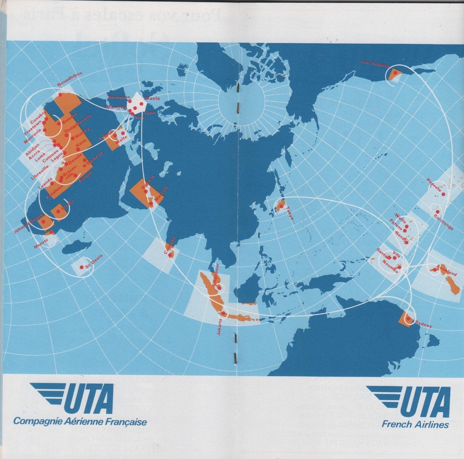 UTA French Airlines 1981 Routemap (1600×1583) | Route map ...