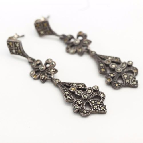 Antique C 1920 Art Deco Sterling Silver Marcasite