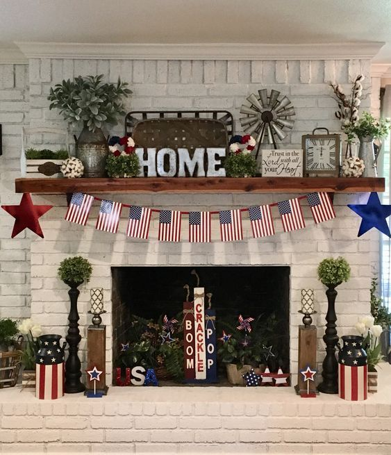 33 Farmhouse Fourth July Independence Patriotic Day Decoration Idea - images