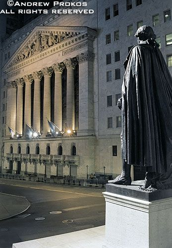 View Of The New York Stock Exchange At Night I Fine Art