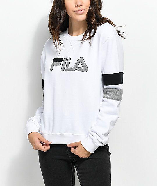 f3494e6b861e FILA Newton White Crew Neck Sweatshirt in 2019 | Style | Fila outfit ...