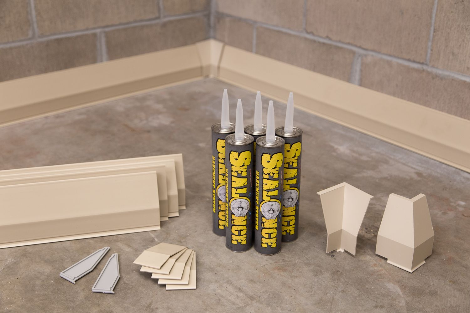 Diy Bat Waterproofing System Bonds Water To Cement Floor Hollow Baseboard Channels Collect Seeping Quietly Drains It Away Easy Install