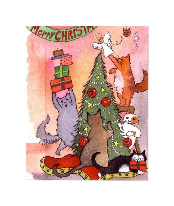 Cat Christmas Greeting Card Cat Christmas Card Funny Etsy Cat Christmas Cards Funny Cat Christmas Cards Christmas Cats