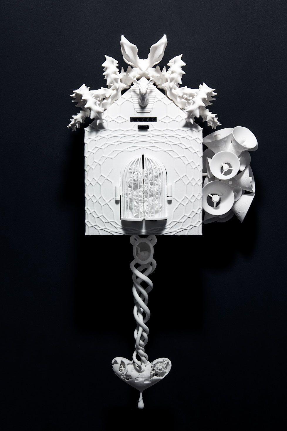 Sei artisti provenienti da tutto il mondo hanno ridisegnato l'orologio a cucù tradizionale con l'aiuto della stampa 3D, il risultato finale del progetto è alla mostra 3D Printshow a Londra.