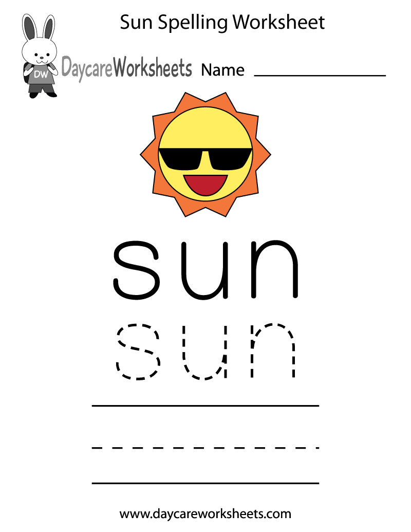 Learn and practice how to spell the word sun using this printable – Worksheets for Kindergarten Spelling
