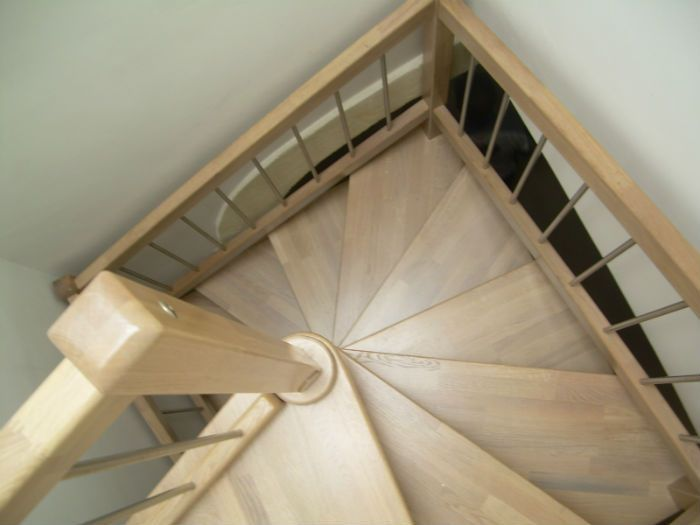 Square Spiral Staircase (wooden Frame And Steps)   SATURNO INOX PLUS   Ci  Erre