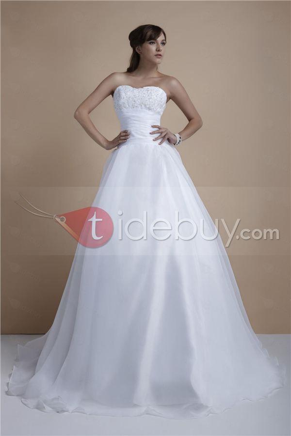 Gorgeous A Line Strapless Chapel Appliques Elas Wedding Dress Tidebuy