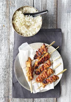 Κοτόπουλο σουβλάκι με φιστικοβούτυρο και σόγια σος