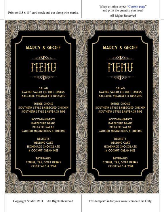 Printable Menu Card Template Great Gatsby Style Art Deco Wedding Instantly Editable