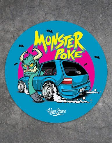Monsterpoke monster vw character round full color 4 sticker sticker is is made of thick durable vinyl with a uv laminate that protects stickers