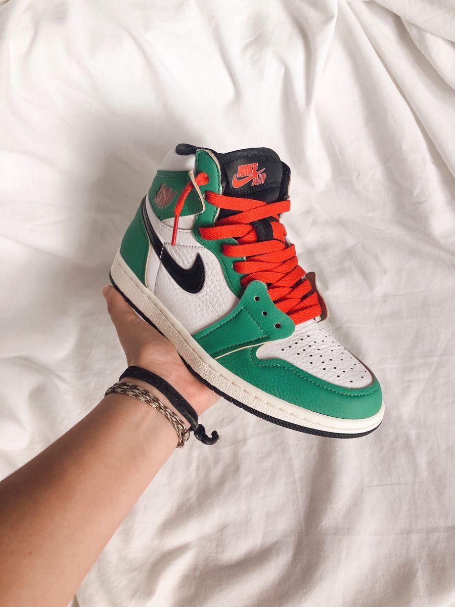 Jordan 1 Lucky Green | Sneakers men fashion, Jordan 1 lucky green ...