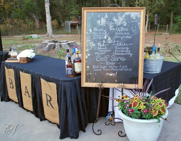 Like the framed chalkboard drinks table idea rustic engagement