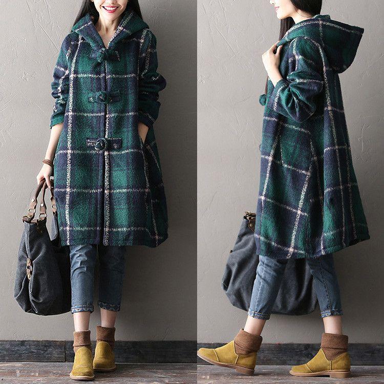 d4f5694a017 Women loose plaid wool coat - Buykud