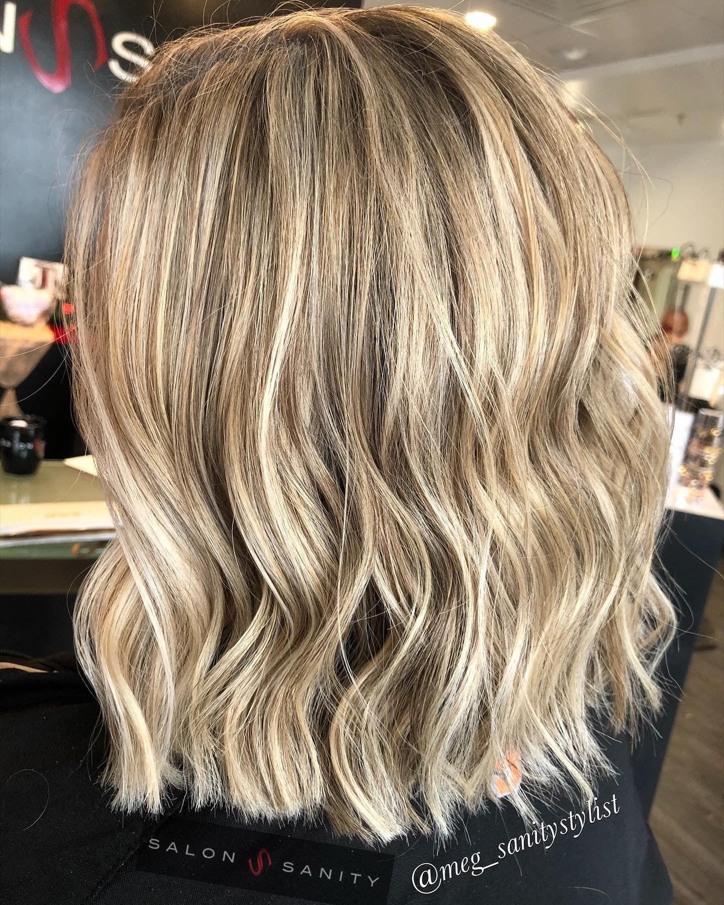 Short Blonde Dimensional Balayage Highlights With Beach Waves Beachwaves Balayage Shorthair Blondebalayage Salonsa In 2020 Modern Haircuts Hair Long Hair Styles