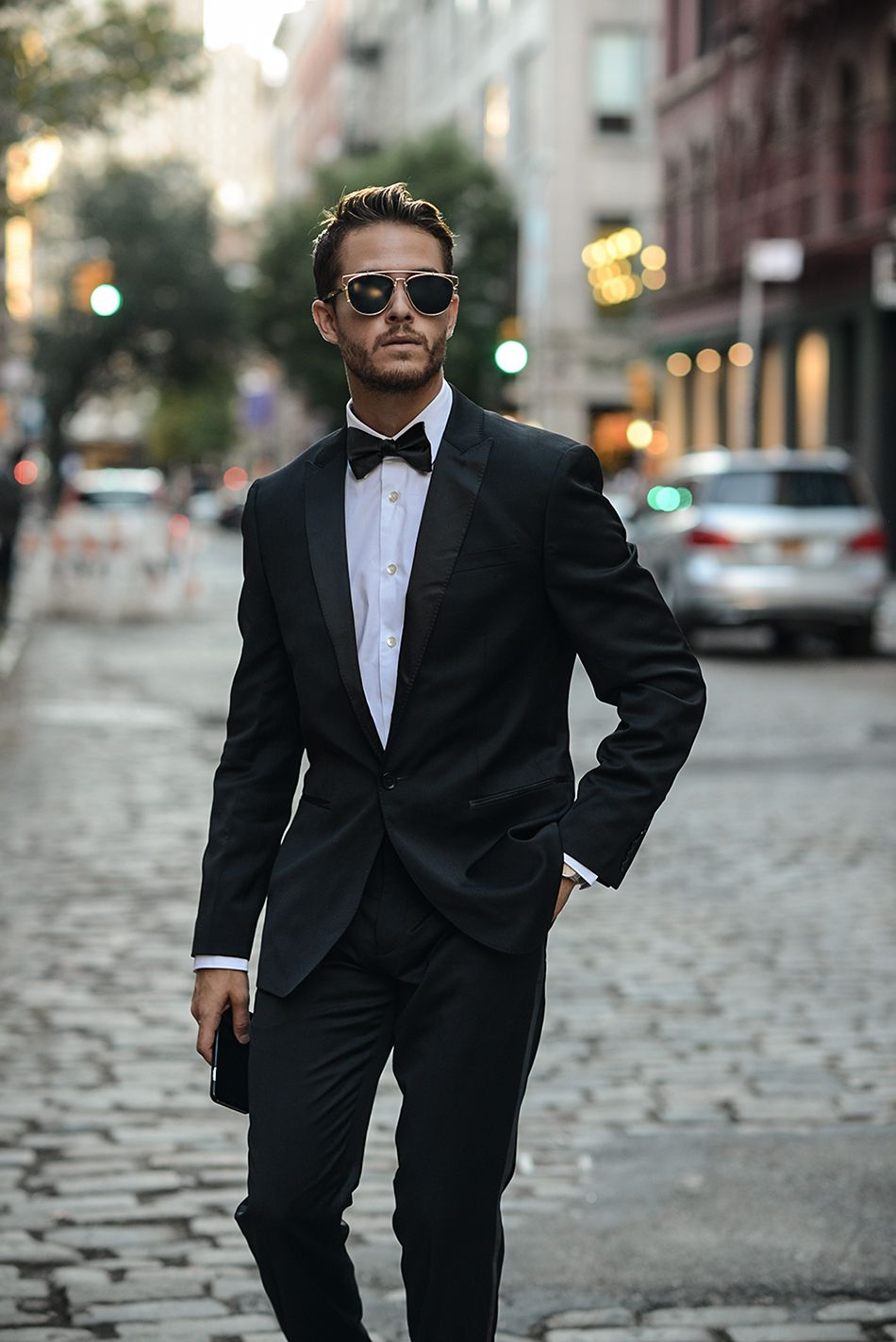Black tuxedo and Dior sunglasses.   lui eac1bb20cb4