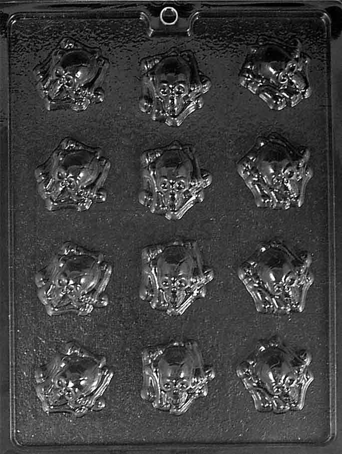 Cybrtrayd Skull and Crossbones Lolly Halloween Chocolate Candy Mold with Chocolatiers Guide